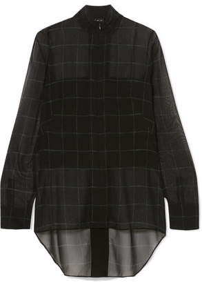 Akris Checked Mulberry Silk-georgette Blouse - Black