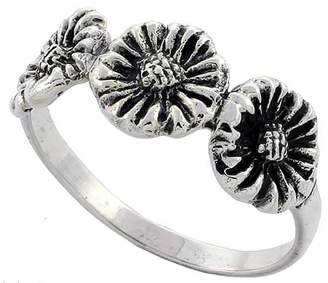 Sabrina Silver Sterling Silver 3 Sunflowers Ring 5/16 inch wide, size 7.5