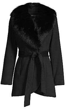 Sofia Cashmere Women's Fur-Trim Wool& Cashmere Wrap Coat