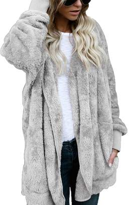 FOUNDO Womens Winter Fuzzy Long Sleeve Hooded Open Front Cardigans Trench Coats S
