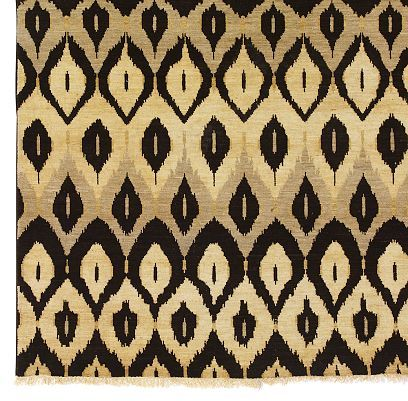 Hand-Woven Ikat-Pattern Rug