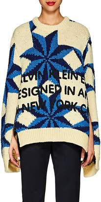 Calvin Klein Women's Logo Star-Pattern Wool Oversized Sweater