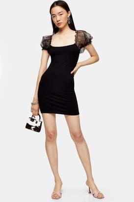 Topshop Black Sheer Organza Puff Sleeve Mini Dress