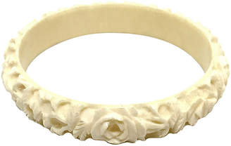 One Kings Lane Vintage Floral Carved Bone Bangle - Little Treasures