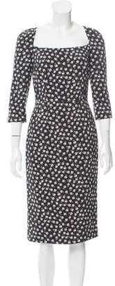 Dolce & Gabbana Midi Floral Print Dress w/ Tags Black Midi Floral Print Dress w/ Tags