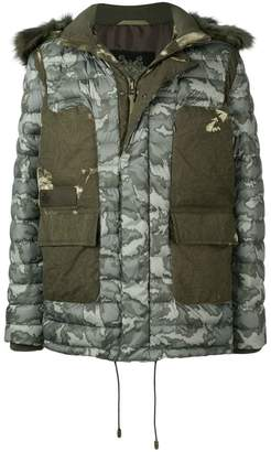 Mr & Mrs Italy fur trimmed hood padded coat