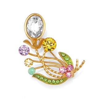 Glamorousky Gleaming Flower Brooch with Multi-colour Austrian Element Crystals