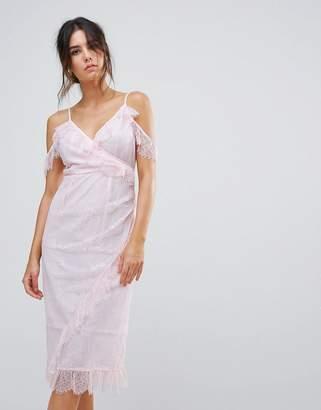 Warehouse Eyelash Cold Shoulder Dress