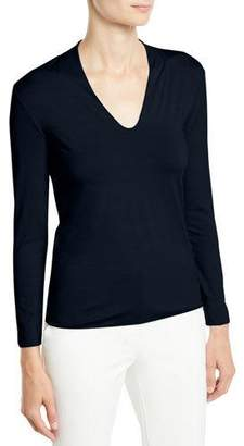 Emporio Armani V-Neck 3/4-Sleeve Jersey-Knit Top