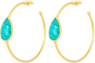 Henri Bendel Elle Gemz Turquoise Teardrop Hoop Earring