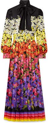 7a11bd63087 Gucci Pussy-bow Printed Silk-twill Gown - Black