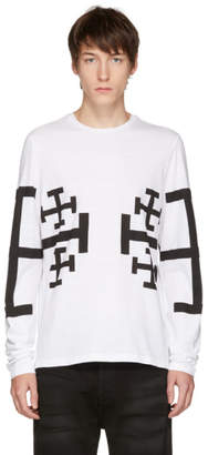 Neil Barrett White Long Sleeve Jerusalem Cross T-Shirt