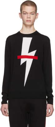 Neil Barrett Black Crossed Out Thunderbolt Sweater