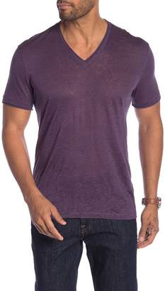 John Varvatos Burnout V-Neck Short Sleeve Linen Tee