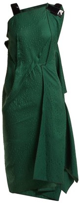 Roland Mouret Cedrela Silk Blend Jacquard Asymmetric Midi Dress - Womens - Green