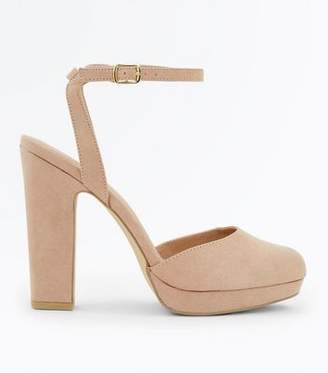 New Look Nude Suedette Two Part Platform Courts