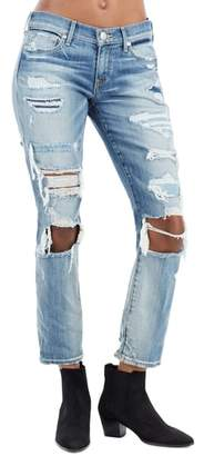 True Religion Brand Jeans Ripped Straight Leg Jeans