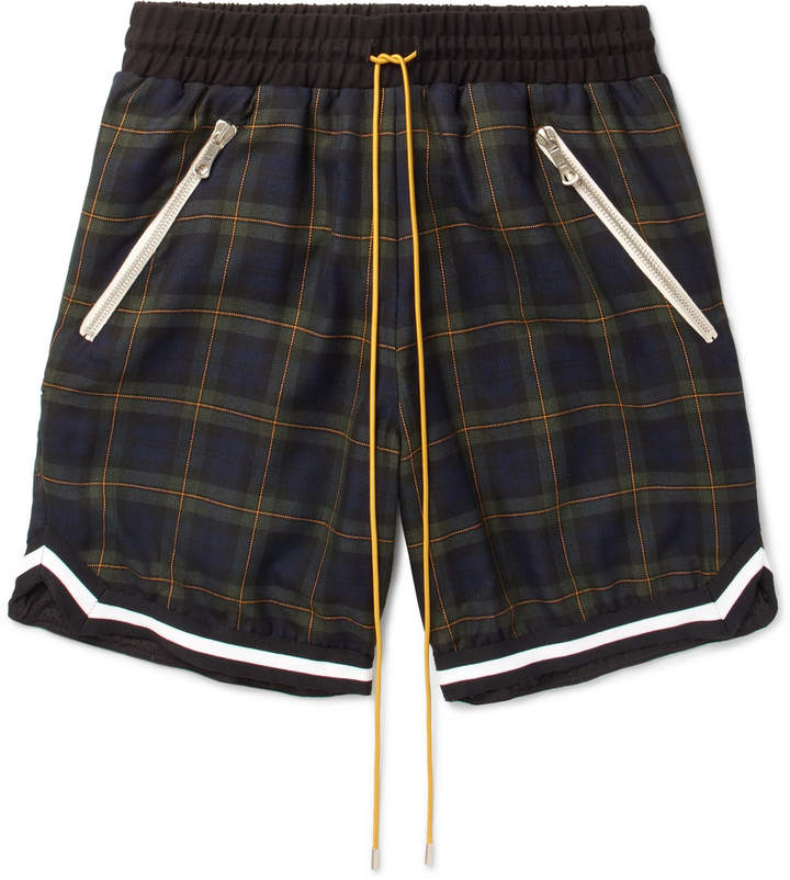 Rhude Webbing-Trimmed Checked Cotton-Twill Drawstring Shorts
