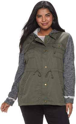 Mudd Juniors' Plus Size Knit Sleeve Utility Jacket