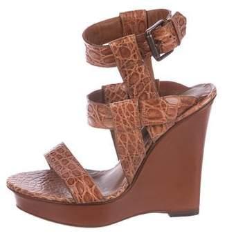 Bottega Veneta Leather Ankle Strap Wedges