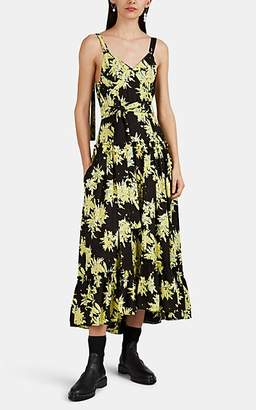 Proenza Schouler Women's Splattered-Floral Georgette Buckle-Strap Maxi Dress - Black Pat.