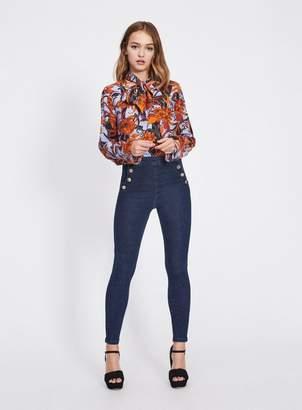 Miss Selfridge Steffi super high waist button front dark blue jeans