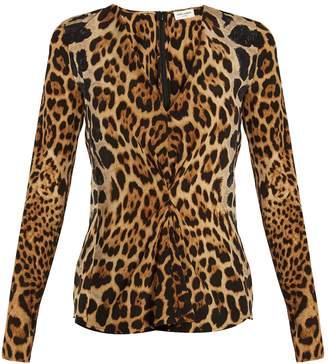 Saint Laurent V-neck leopard-print silk blouse