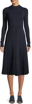 Veronica Beard Beau Paneled Long-Sleeve Midi Dress
