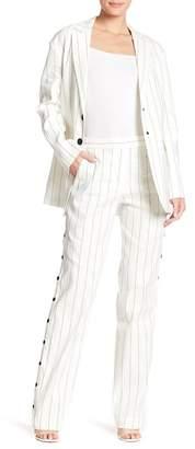 Tibi Linen Blend Stripe Snap Button Pants