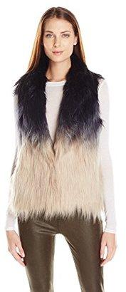 Buffalo David Bitton Women's 5 Point Dip-Dye Ombre Furry Vest $128 thestylecure.com