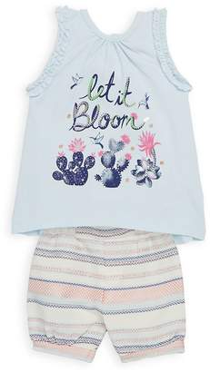Petit Lem Little Girl's Two-Piece Sleeveless Top and Shorts Set