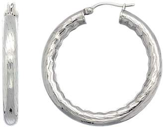 Sabrina Silver Surgical Steel 1 1/2 inch Hoop Earrings Bamboo Embossed Pattern 5 mm Fat tube, feather weigh