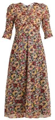 Masscob Mina rose-print cotton midi dress