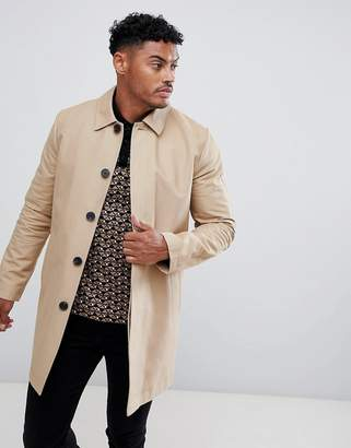 Asos Design DESIGN shower resistant single breasted trench in stone