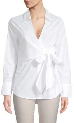 ASTR the Label Tie-Front Cotton Poplin Top