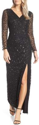 Adrianna Papell Beaded Mesh Evening Dress