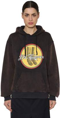 J.W.Anderson Printed Hooded Washed Jersey Sweatshirt