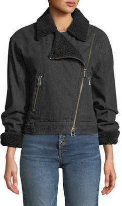 Veronica Beard Rosina Denim Moto Jacket with Sherpa Lining