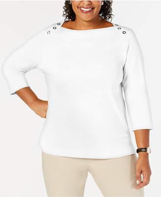 Karen Scott Button Shoulder Knit Top