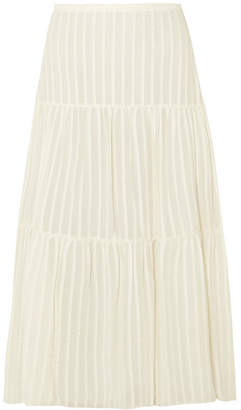 See by Chloe Striped Cotton-jacquard Skirt - Off-white