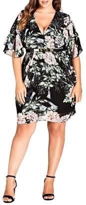 City Chic Blossoms Faux Wrap Dress