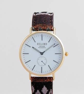 Reclaimed Vintage Inspired Aztec Print Strap Watch In Multi Exclusive To ASOS