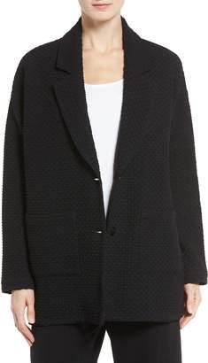 Eileen Fisher Lattice Texture Notch Collar Jacket