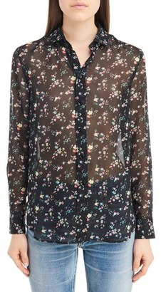 Women's Saint Laurent Liberty Print Silk Georgette Blouse $1,290 thestylecure.com