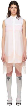 Prada White and Orange Sleeveless Chiffon Dress