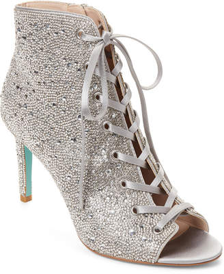 Betsey Johnson Blue By Silver Satin Rhinestone Alexi Booties