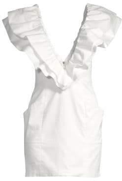 Fleur Du Mal Deep V-Neck Ruffle Shift Dress