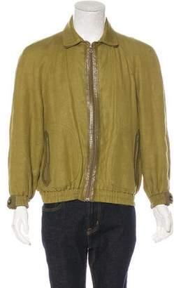 Bijan Linen Leather-Trimmed Jacket