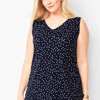 Talbots Plus Size Knit Jersey V-Neck Shell - Dot Print