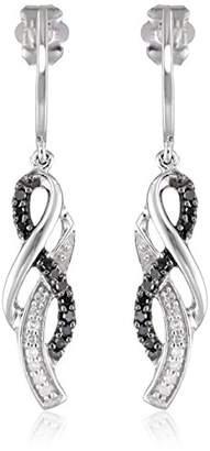 10K Gold Black and Diamond Infinity Earrings (1/4 cttw)